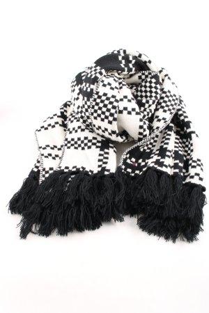 Hilfiger Denim Sciarpa lavorata a maglia nero-bianco stampa integrale
