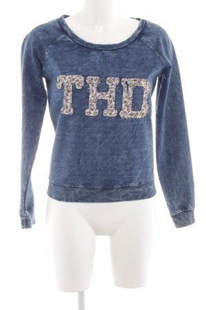 Hilfiger Denim Sweatshirt blau-weiß Blumenmuster Casual-Look