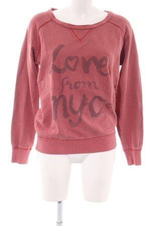 Hilfiger Denim Sweatshirt rot Schriftzug gedruckt Casual-Look