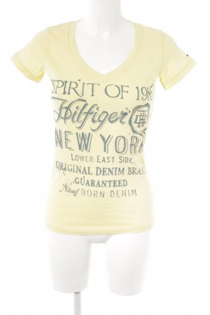 Hilfiger Denim T-Shirt blassgelb-graublau Schriftzug gedruckt Casual-Look