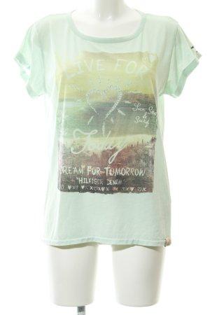 Hilfiger Denim T-Shirt blassgrün-wiesengrün Motivdruck Logostickerei