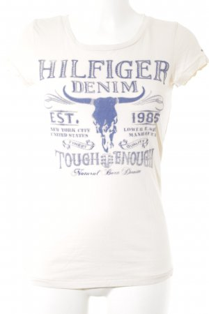 Hilfiger Denim T-Shirt creme-blau Mustermix Street-Fashion-Look