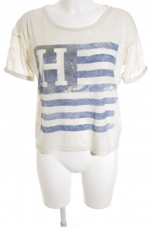 Hilfiger Denim T-Shirt creme Motivdruck Used-Optik