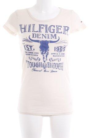 Hilfiger Denim T-Shirt creme Schriftzug gedruckt Casual-Look