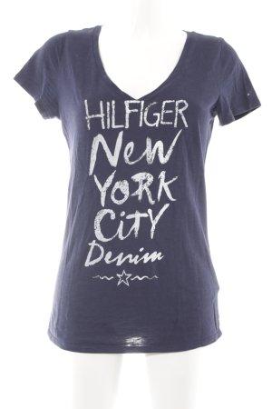 Hilfiger Denim T-Shirt dunkelblau-blassblau Schriftzug gedruckt schlichter Stil