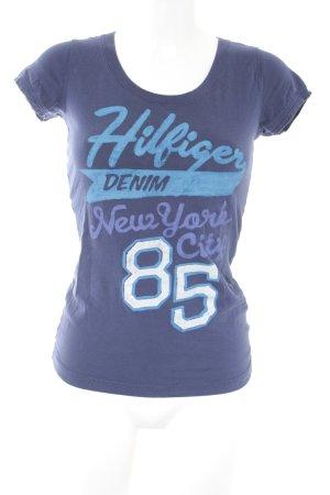 Hilfiger Denim T-Shirt dunkelblau-hellblau platzierter Druck sportlicher Stil