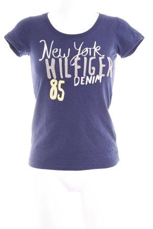 Hilfiger Denim T-Shirt dunkelblau Schriftzug gedruckt Casual-Look