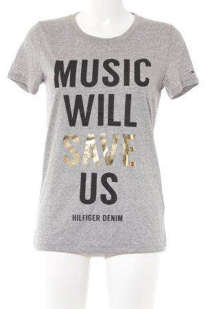 Hilfiger Denim T-Shirt grau Motivdruck Casual-Look