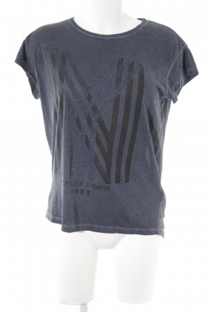 Hilfiger Denim T-Shirt graublau Schriftzug gedruckt Casual-Look