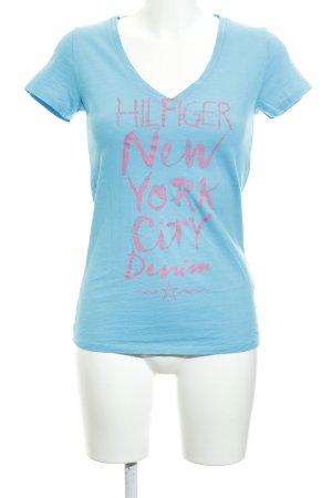 Hilfiger Denim T-Shirt hellblau-pink Schriftzug gedruckt Casual-Look