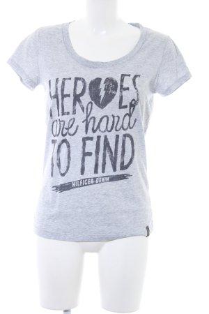 Hilfiger Denim T-Shirt hellgrau-dunkelgrau meliert Boyfriend-Look