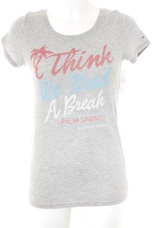 Hilfiger Denim T-Shirt hellgrau Schriftzug gedruckt Casual-Look