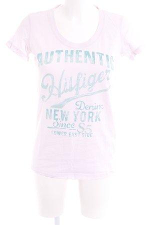Hilfiger Denim T-Shirt hellrosa-grasgrün Schriftzug gedruckt Casual-Look