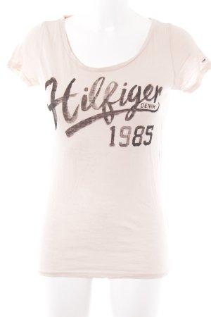 Hilfiger Denim T-Shirt hellrosa Schriftzug gedruckt schlichter Stil