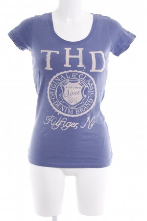 Hilfiger Denim T-Shirt kornblumenblau Schriftzug gedruckt Casual-Look