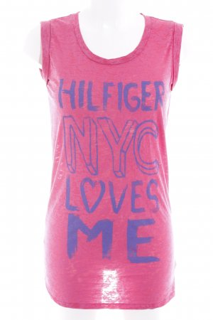 Hilfiger Denim T-Shirt magenta-blauviolett Farbtupfermuster Casual-Look
