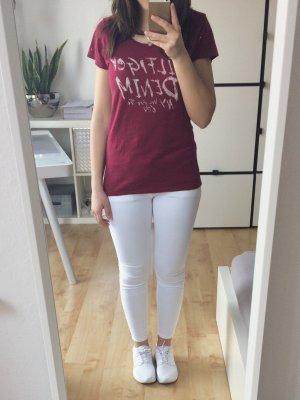 Hilfiger Denim T-Shirt mit Schriftzug bordeaux rot