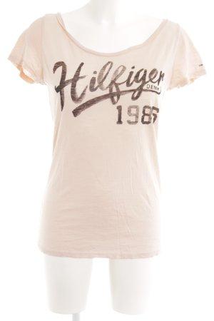 Hilfiger Denim T-Shirt nude-dunkelbraun Schriftzug gedruckt Casual-Look