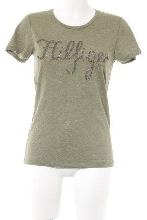Hilfiger Denim T-Shirt olivgrün meliert Casual-Look