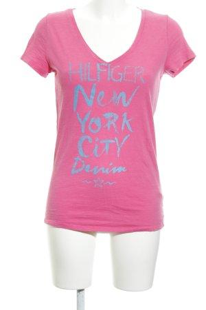 Hilfiger Denim T-Shirt pink Schriftzug gedruckt Casual-Look