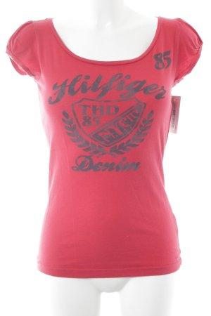 Hilfiger Denim T-Shirt rot-dunkelgrau Schriftzug gedruckt sportlicher Stil
