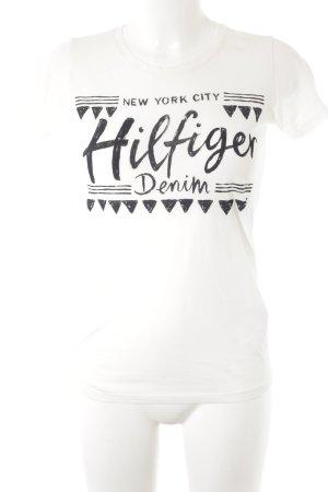 Hilfiger Denim T-Shirt schwarz-wollweiß Schriftzug gedruckt Casual-Look