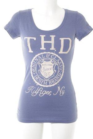 Hilfiger Denim T-Shirt stahlblau Schriftzug gedruckt Casual-Look
