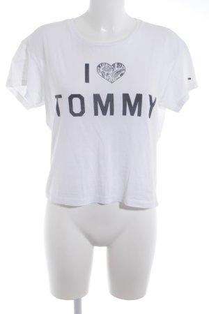 Hilfiger Denim T-Shirt weiß-dunkelblau platzierter Druck Casual-Look