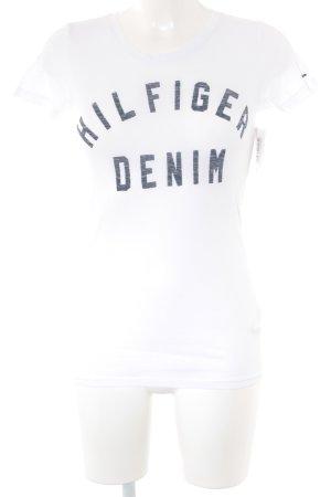 Hilfiger Denim T-Shirt weiß-graublau Schriftzug gedruckt Casual-Look