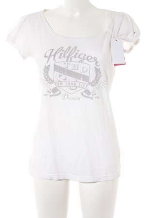 Hilfiger Denim T-Shirt weiß-hellgrau Motivdruck Casual-Look