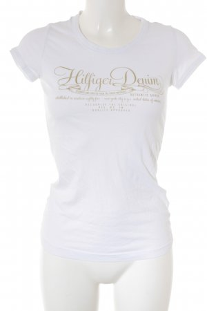 Hilfiger Denim T-Shirt weiß-sandbraun Schriftzug gedruckt Casual-Look