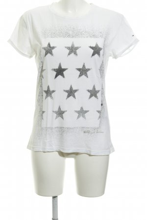Hilfiger Denim T-Shirt wollweiß-dunkelgrau Sternenmuster Casual-Look