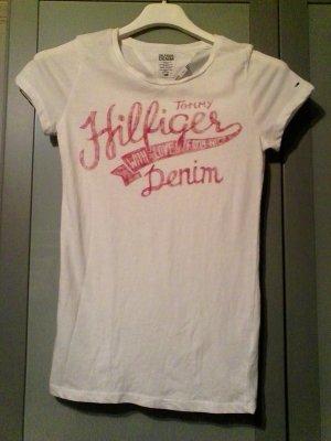 Hilfiger Denim T-Shirt Xs White red Print