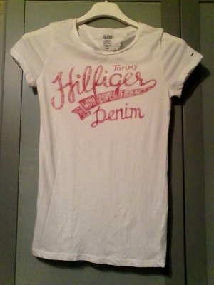 Hilfiger Denim T-Shirt Xs White red Print