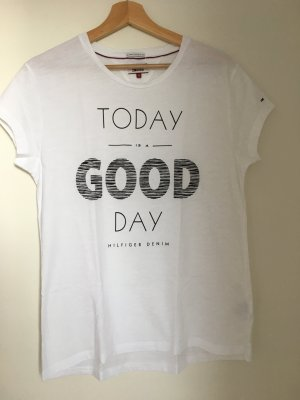 "Hilfiger Denim Tshirt Schwarz-Weiß ""Today is a GOOD Day"" S"