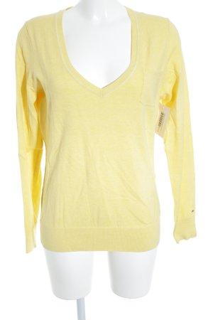 Hilfiger Denim V-Ausschnitt-Pullover blassgelb klassischer Stil
