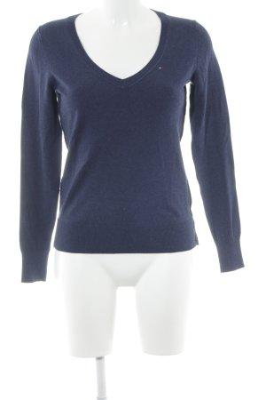 Hilfiger Denim V-Ausschnitt-Pullover dunkelblau-blau meliert klassischer Stil