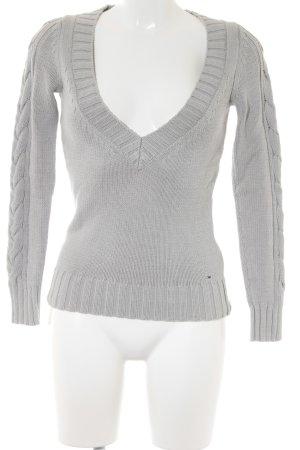 Hilfiger Denim V-Ausschnitt-Pullover hellgrau Zopfmuster Casual-Look