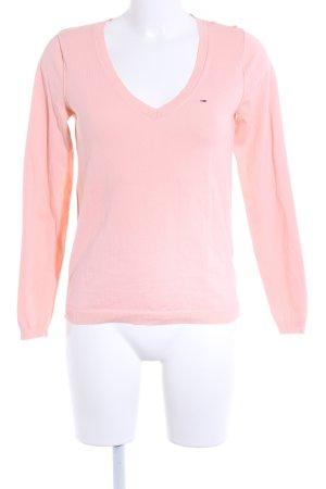 Hilfiger Denim V-Ausschnitt-Pullover hellrosa Casual-Look