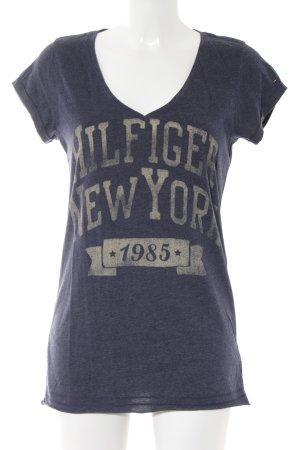 Hilfiger Denim V-Ausschnitt-Shirt dunkelblau-dunkelgelb Schriftzug gedruckt