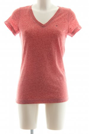 Hilfiger Denim V-hals shirt lichtrood gestippeld casual uitstraling