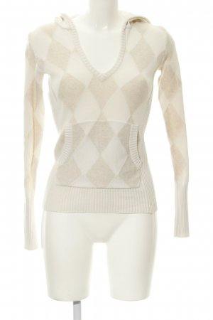 Hilfiger Hooded Sweater oatmeal-beige check pattern simple style