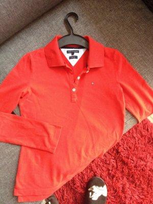Hilfiger langarm Poloshirt in rot