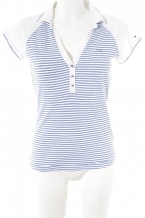 Hilfiger Polo Shirt white-azure striped pattern casual look
