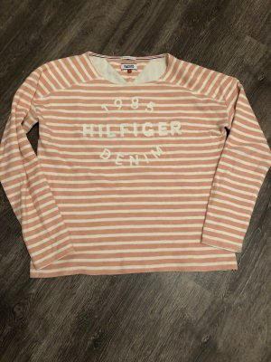 Tommy Hilfiger Denim Kraagloze sweater abrikoos-wit