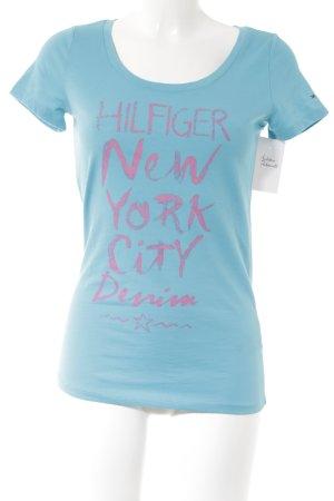 Hilfiger T-Shirt hellblau-pink Schriftzug gedruckt Casual-Look