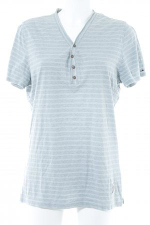 Hilfiger T-Shirt hellgrau-himmelblau Streifenmuster Casual-Look