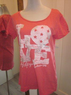 #Hilfiger T Shirt Rosa Weiss LOVE GR L