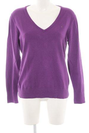 Hilfiger V-Ausschnitt-Pullover lila Business-Look