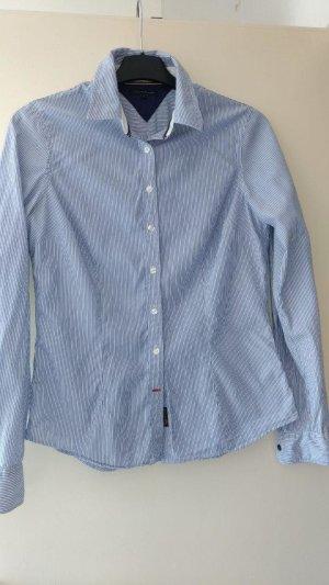 Tommy Hilfiger Hemdblouse wit-blauw Katoen